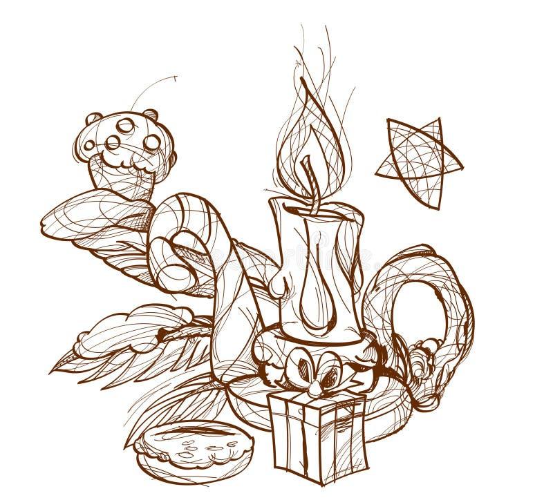 Bougie brûlante dans le chandelier illustration libre de droits