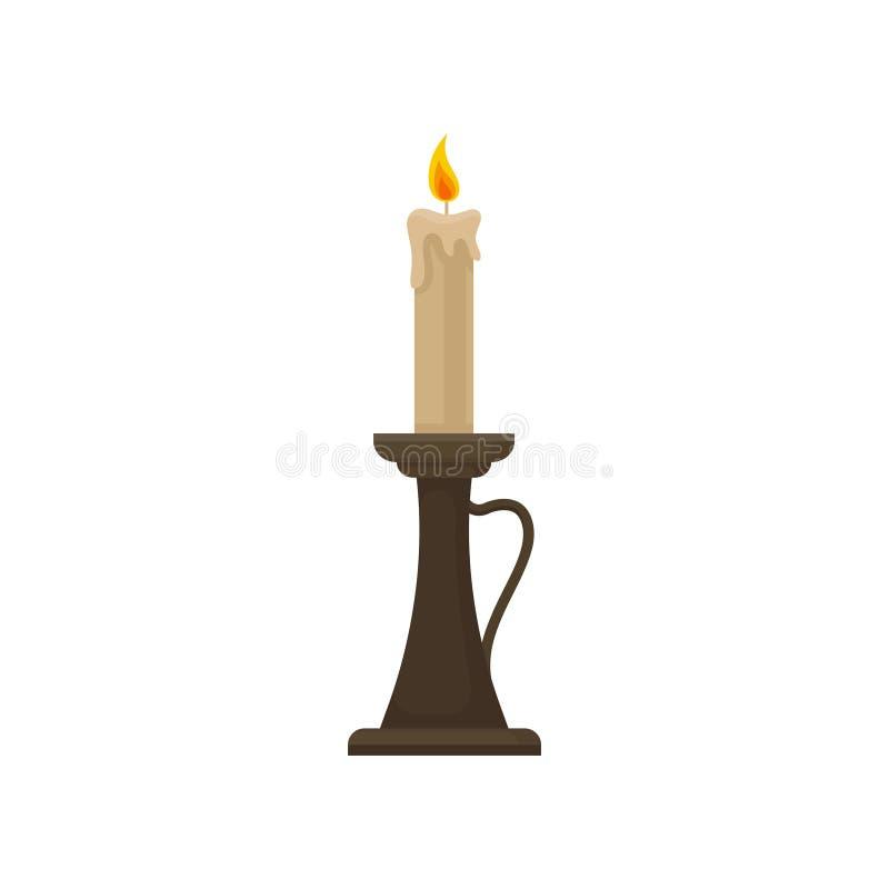 Bougie brûlante dans un chandelier, illustration de vecteur de bougeoir de cru sur un fond blanc illustration libre de droits