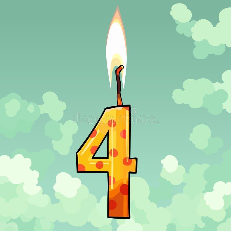 Bougie brûlante numéro quatre sur le fond de ciel illustration de vecteur