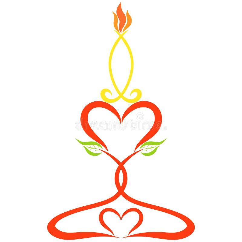 Bougie brûlante sur un chandelier fait de coeurs et feuilles, couleur illustration libre de droits
