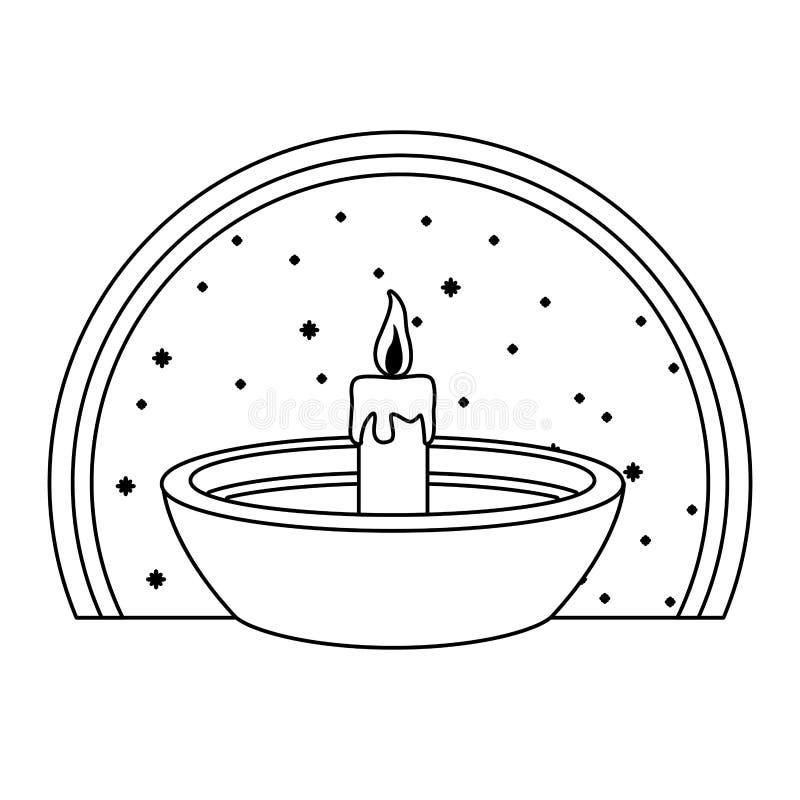 Bougie dans la bande dessinée de cuvette sur l'emblème rond en noir et blanc illustration de vecteur