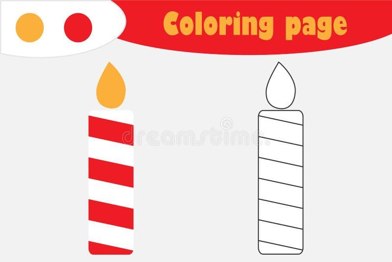 Bougie dans le style de bande dessinée, page de coloration de Noël, jeu de papier d'éducation pour le développement des enfants,  illustration libre de droits