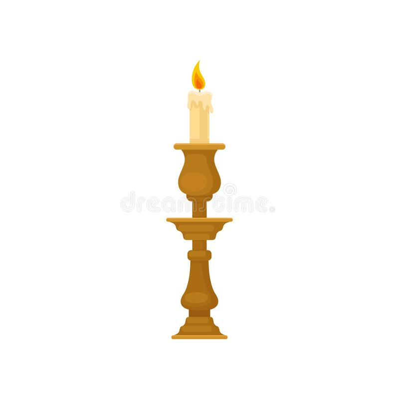 Bougie dans un chandelier, illustration de vecteur de bougeoir de cru illustration libre de droits