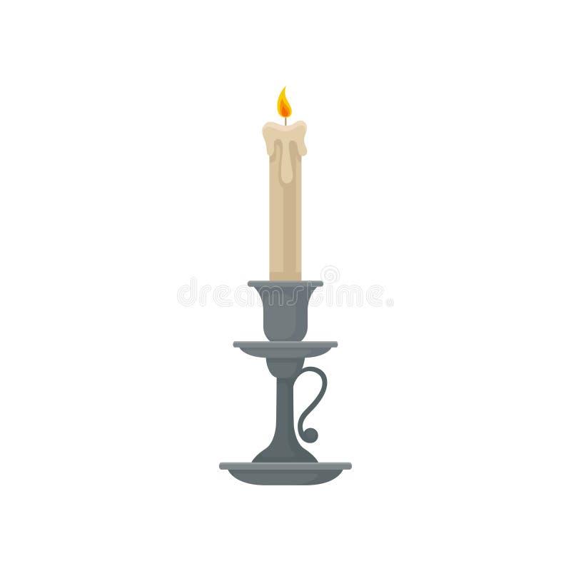 Bougie dans un chandelier, illustration de vecteur de bougeoir de cru sur un fond blanc illustration libre de droits