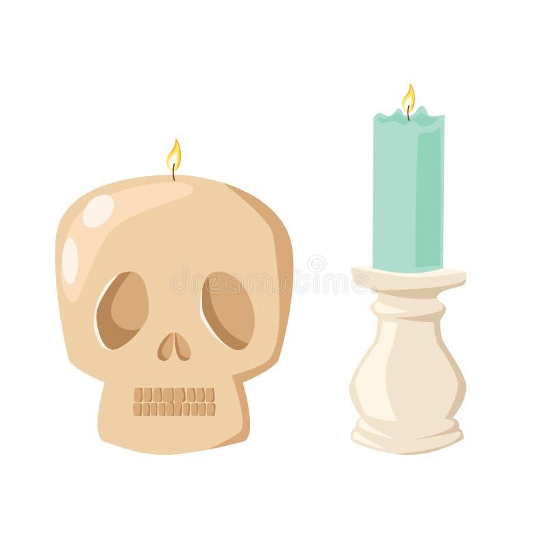 Bougie de crâne de Halloween de vecteur avec le feu illustration libre de droits