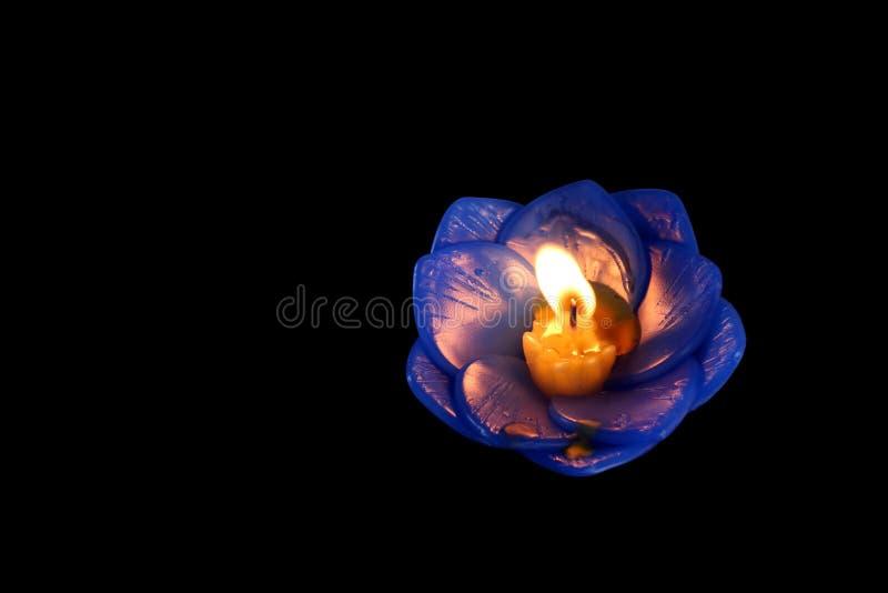 Bougie de Lotus d'isolement sur le fond noir, lampe, lanterne, lumière, bougies de flottement pour être lotus de fleur brûlé sur  photos stock