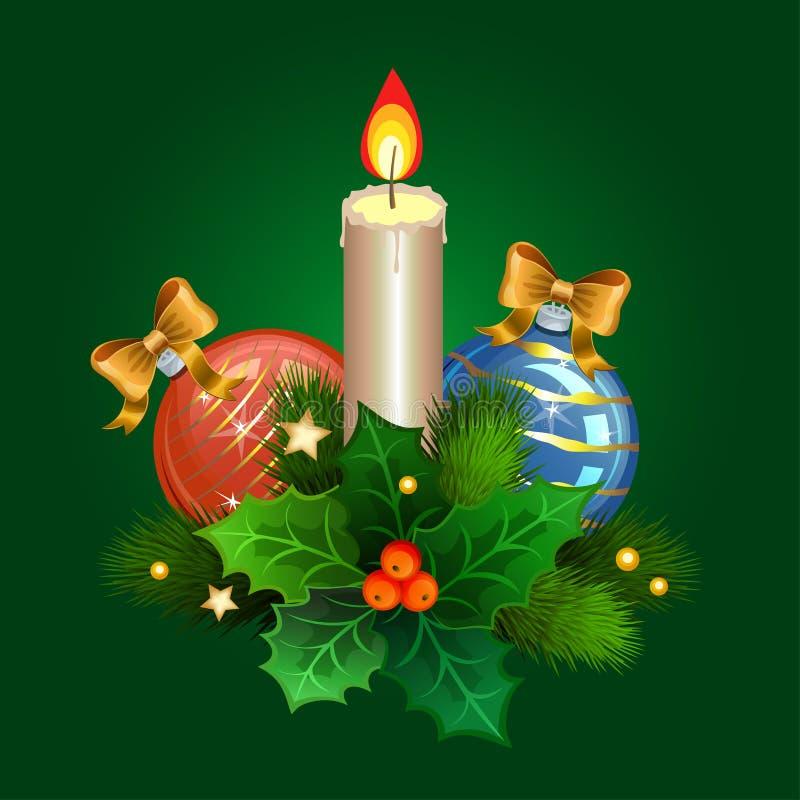 Bougie de Noël avec des branches de sapin et des boules de Noël illustration de vecteur