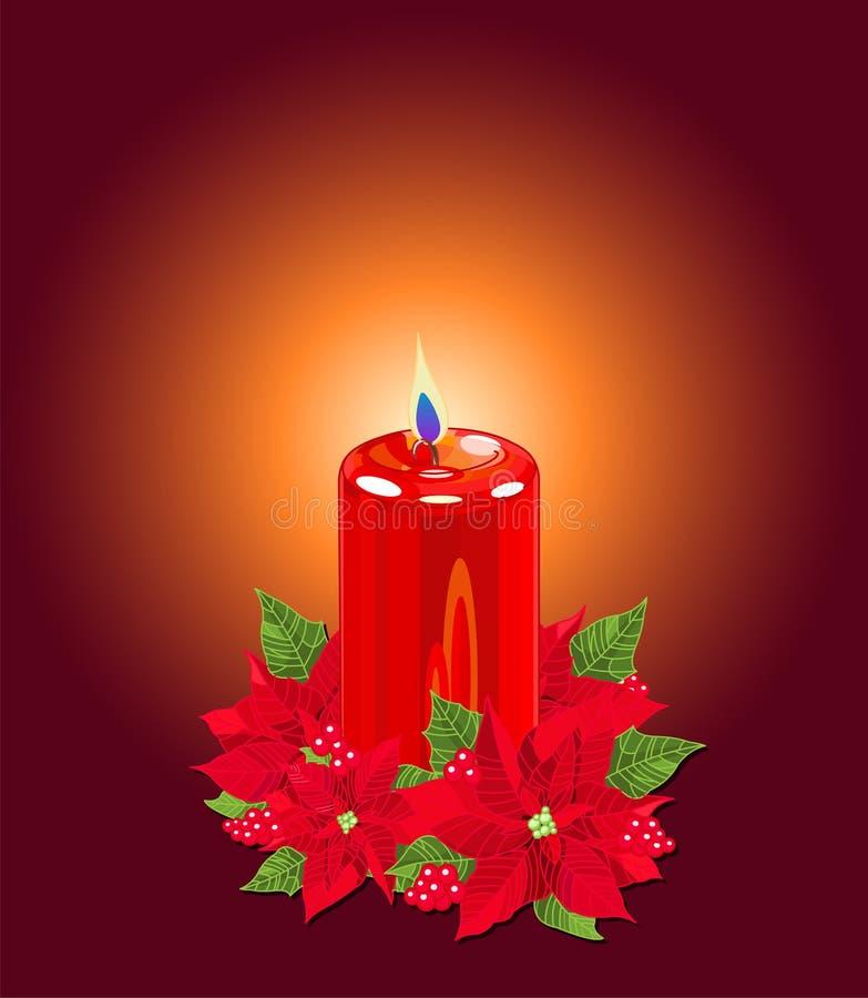 Bougie de Noël avec des poinsettias illustration stock