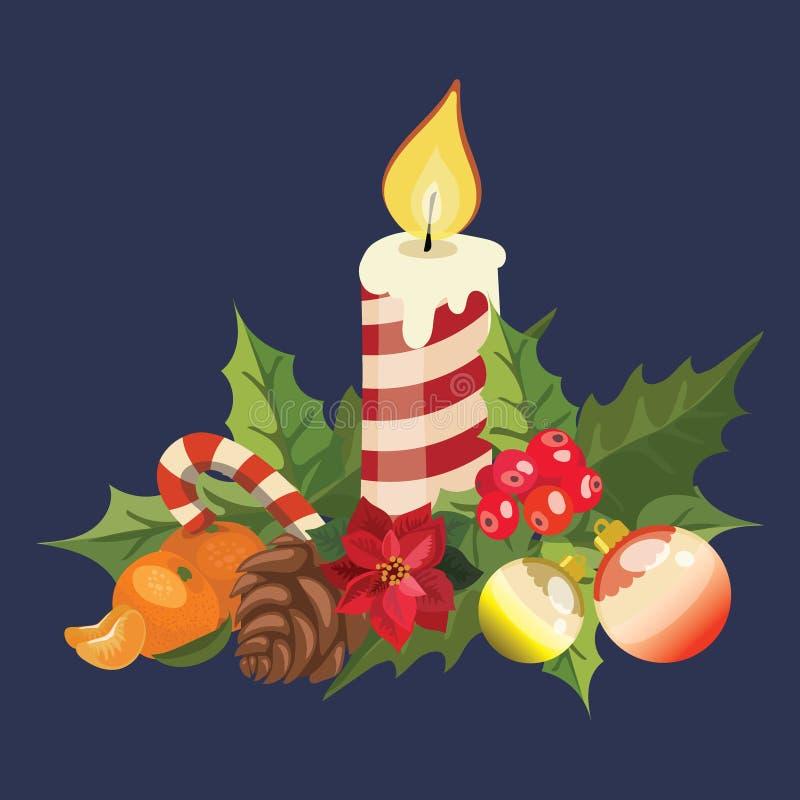 Bougie de Noël avec la poinsettia illustration d'une bougie brûlante Dessin pour des enfants illustration libre de droits
