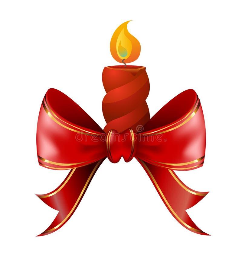 Bougie de Noël combinée avec l'arc rouge illustration libre de droits