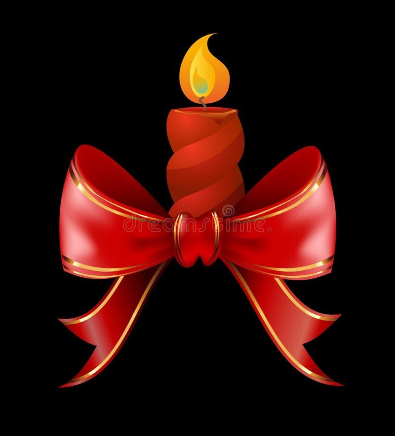 Bougie de Noël combinée avec le ruban rouge d'arc illustration de vecteur