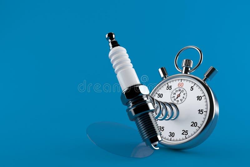 Bougie de voiture avec le chronomètre illustration de vecteur