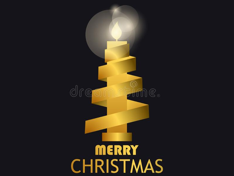 Bougie et ruban d'or de Joyeux Noël Gradient d'or Calibre de design de carte de salutation Vecteur illustration libre de droits