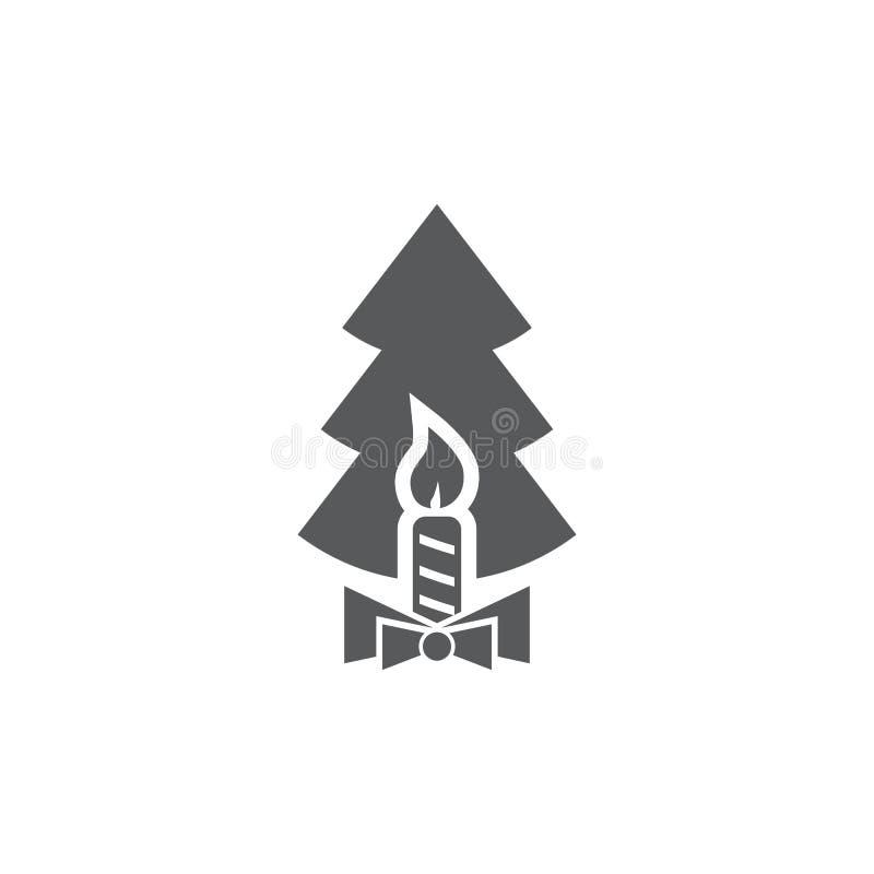 Bougie et sapins de Noël d'icônes de vecteur illustration libre de droits