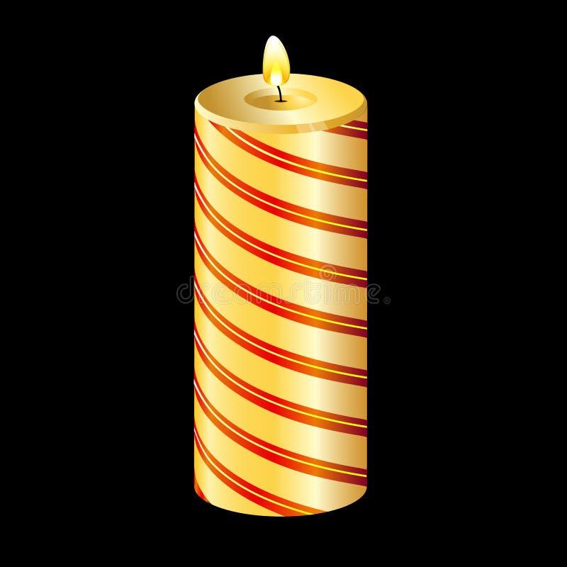 Bougie jaune de Noël photographie stock libre de droits