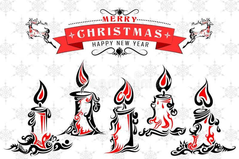 Bougie sainte de Noël de style de tatouage illustration libre de droits