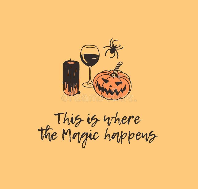 Bougie, vin, potiron, araignée et citation tirés par la main d'illustration Oeuvre d'art créative d'encre Dessin réel H d'isoleme illustration de vecteur