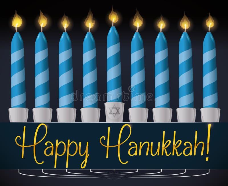 Bougies allumées par bleu pour la célébration de Hanoucca, illustration illustration libre de droits