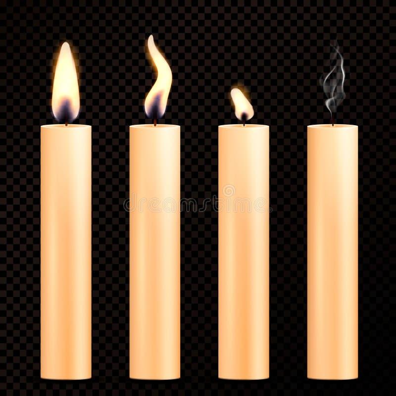 Bougies brûlantes d'ensemble réaliste illustration de vecteur