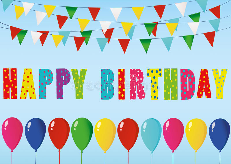 Bougies colorées de joyeux anniversaire Guirlande d'arc-en-ciel des drapeaux Lette illustration stock