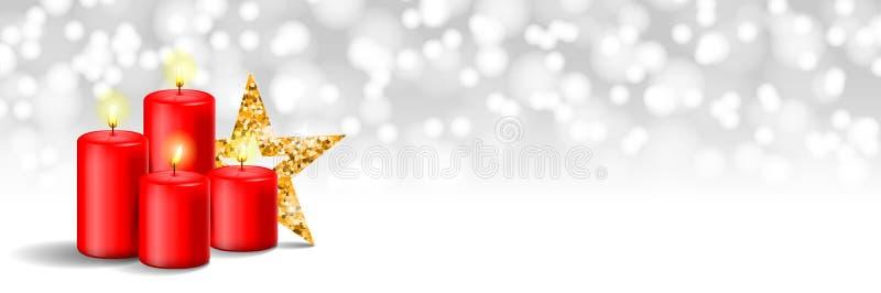 Bougies d'avènement de Noël avec la bannière de bokeh d'étoile illustration libre de droits