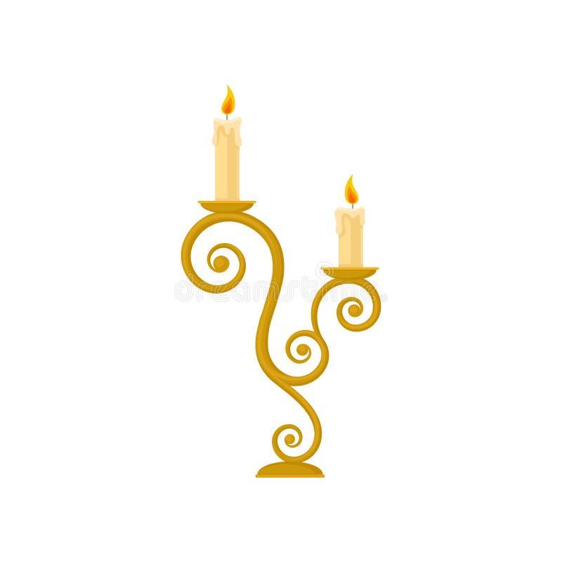 Bougies dans un chandelier, illustration d'or de vecteur de bougeoir de cru de courbe sur un fond blanc illustration stock