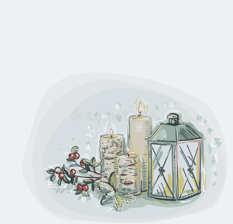 Bougies de lampe de flocons de neige de vecteur de Noël de carte de couleur douce bleue de fond de style en pastel de peinture illustration stock