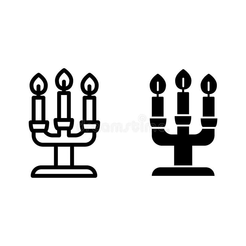 Bougies de ligne et icône de glyph illustration de vecteur de chandelier d'isolement sur le blanc Conception de style d'ensemble  illustration de vecteur