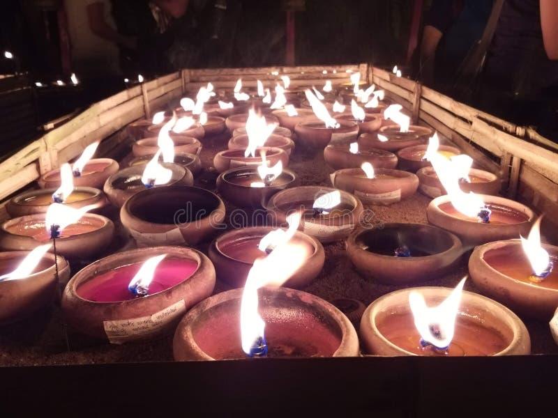 Bougies de temple Chiang Mai de budhist photos stock