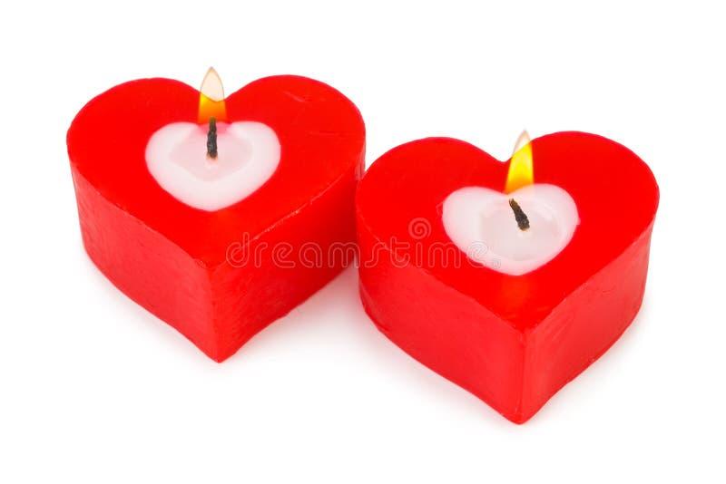 Bougies en forme de coeur photographie stock libre de droits