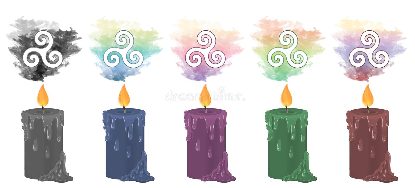 Bougies en spirale triples de symbole illustration de vecteur