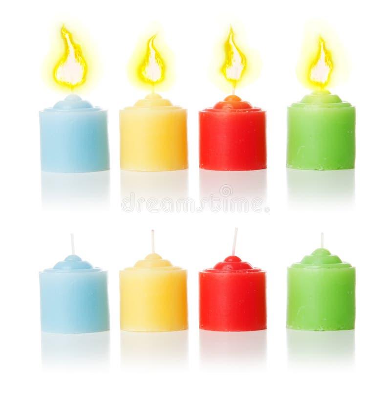 Bougies et flamme | D'isolement photographie stock libre de droits