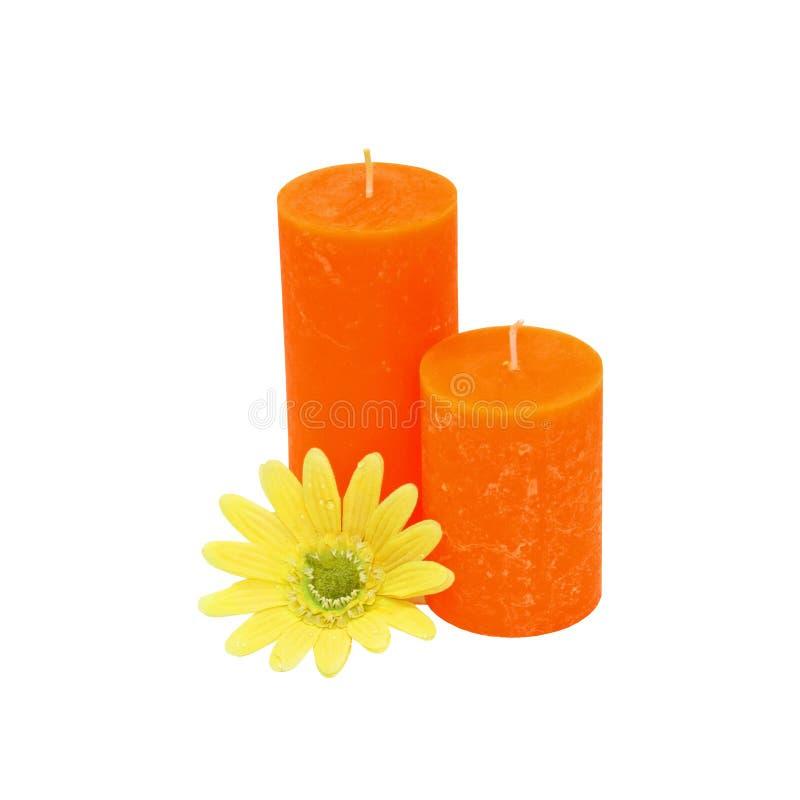 Bougies et fleur photographie stock libre de droits