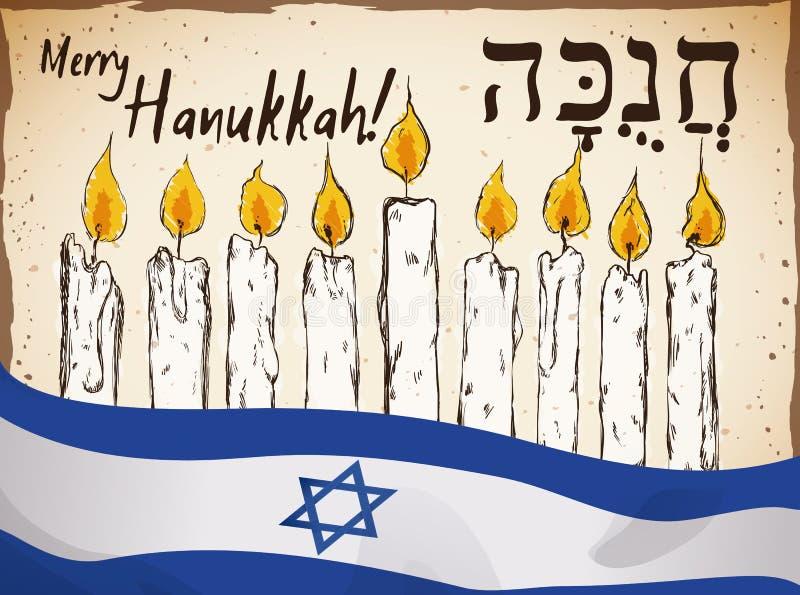 Bougies et Israel Flag tirés par la main pour la célébration de Hanoucca, illustration de vecteur illustration libre de droits