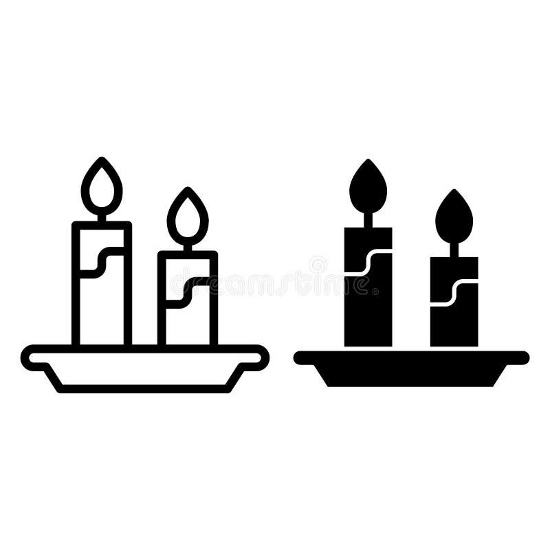 Bougies et ligne de chandelier et icône de glyph Illustration de vecteur de flamme d'isolement sur le blanc Conception légère de  illustration de vecteur