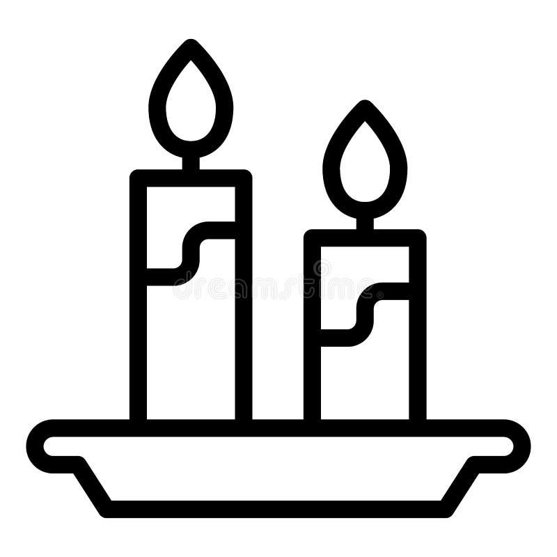 Bougies et ligne icône de chandelier Illustration de vecteur de flamme d'isolement sur le blanc Conception légère de style d'ense illustration libre de droits