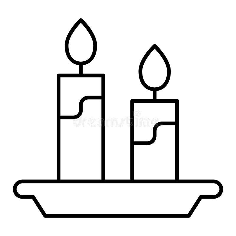 Bougies et ligne mince icône de chandelier Illustration de vecteur de flamme d'isolement sur le blanc Conception légère de style  illustration stock