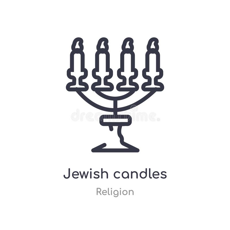 bougies juives d'icône d'ensemble ligne d'isolement illustration de vecteur de collection de religion icône juive de bougies de c illustration de vecteur
