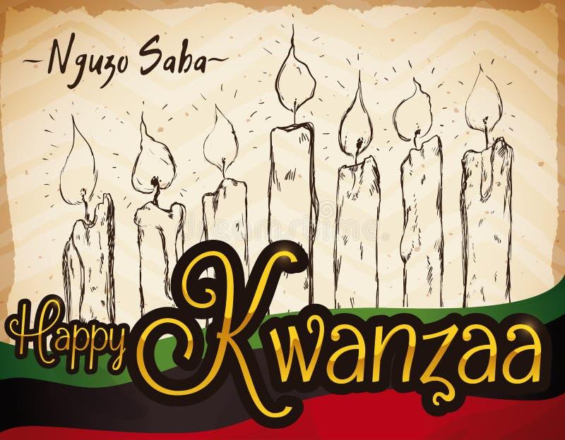 Bougies tirées par la main avec le drapeau pour la célébration de Kwanzaa, illustration de vecteur illustration libre de droits