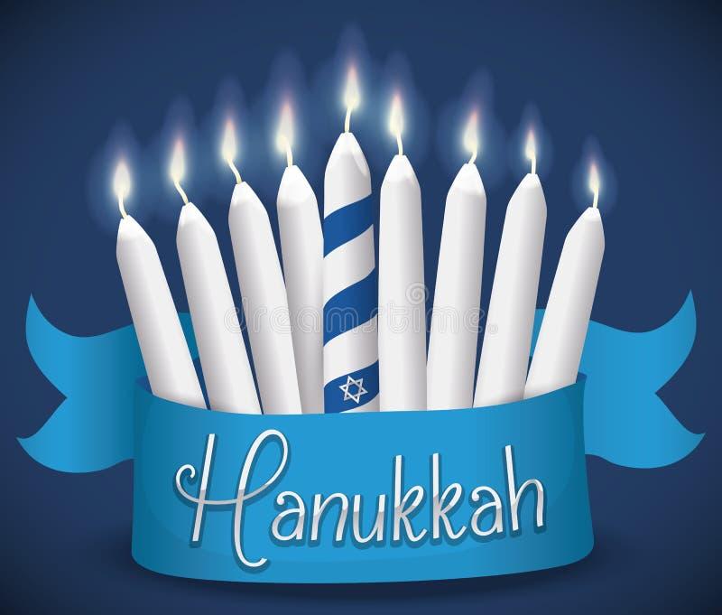 Bougies traditionnelles allumées avec le ruban pour la célébration de Hanoucca, illustration illustration libre de droits