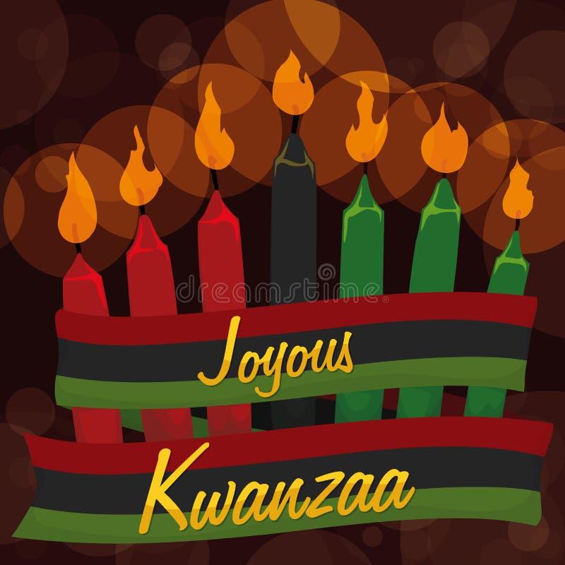 Bougies traditionnelles de Kwanzaa avec le ruban et le fond de Bokeh, illustration de vecteur illustration libre de droits