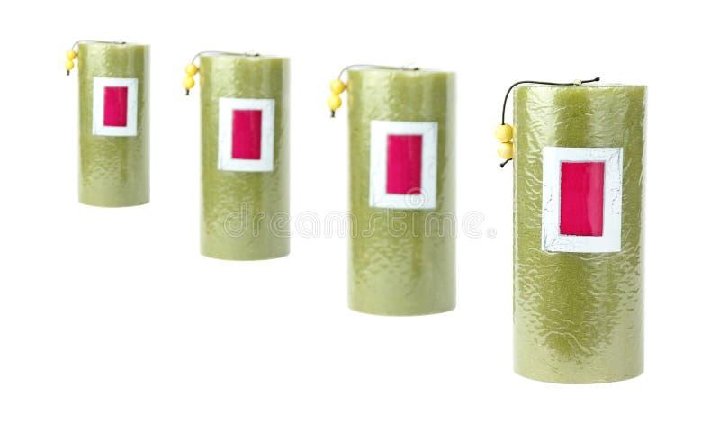 4 bougies vertes image stock