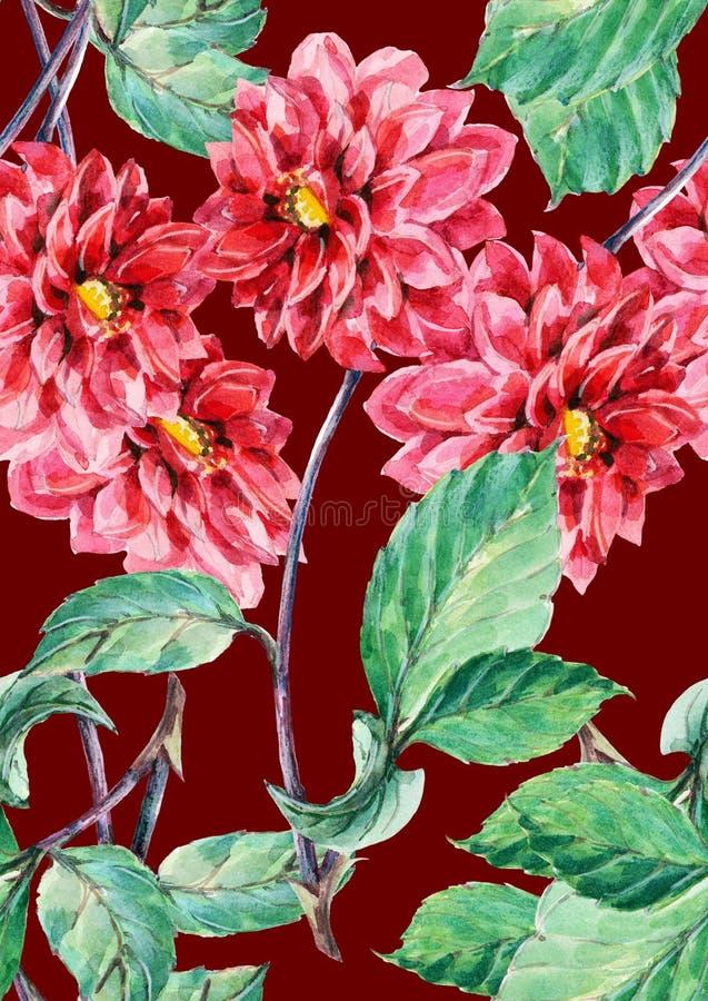 Bouguet rode dahlia, waterverf, naadloos patroon royalty-vrije illustratie