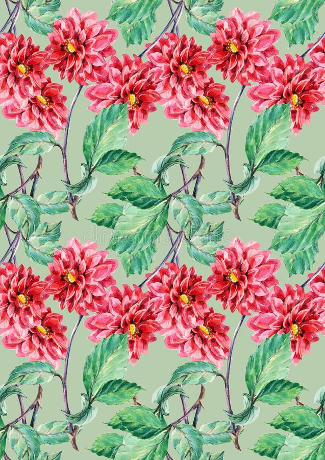 Bouguet rode dahlia, waterverf, naadloos patroon vector illustratie