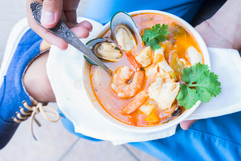 Bouillabaisse french seafood soup stock photo