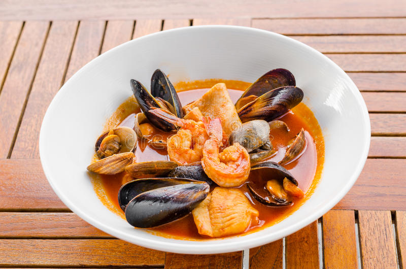 Bouillabaisse seafood soup royalty free stock photography