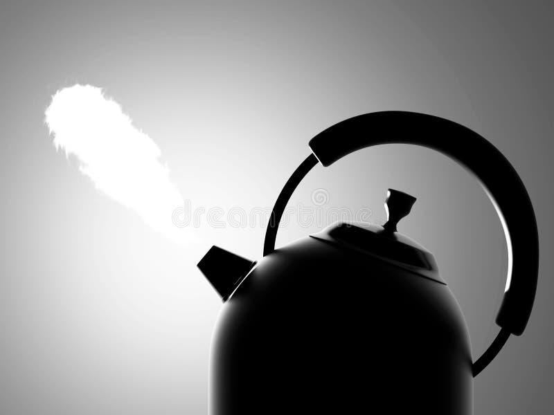 Bouilloire avec la vapeur image stock