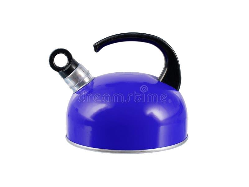 Bouilloire bleue d'isolement images stock