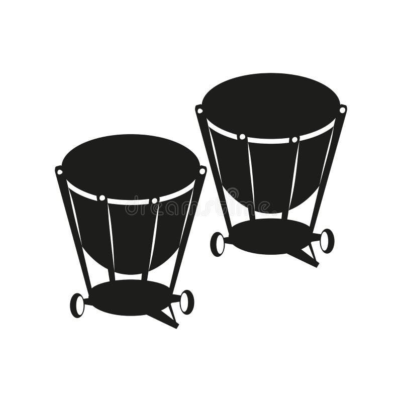 Bouilloire-tambours sur le fond blanc illustration de vecteur