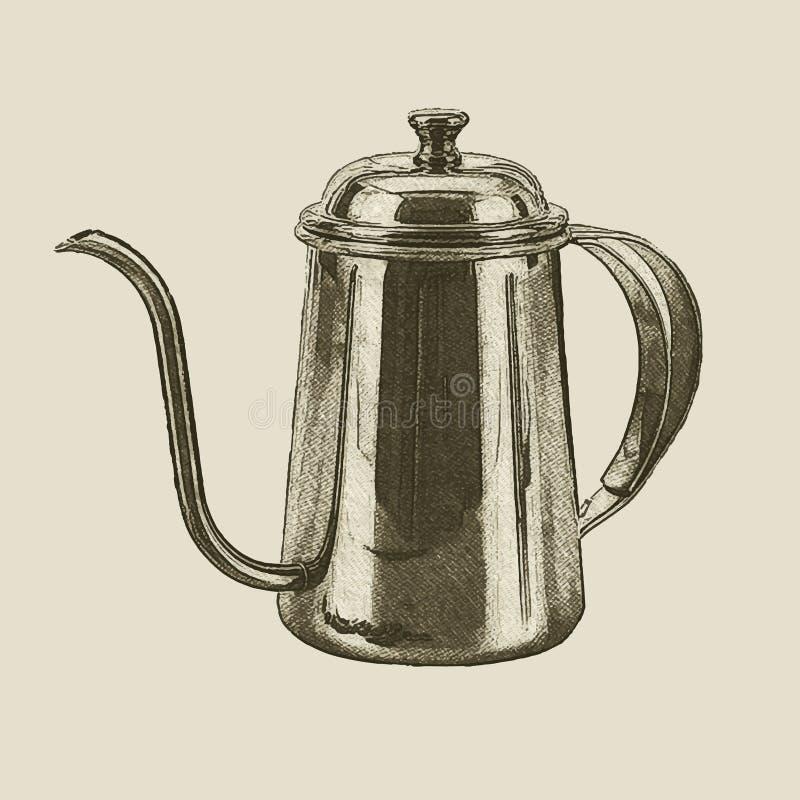 Bouilloire tirée par la main de vintage illustration libre de droits